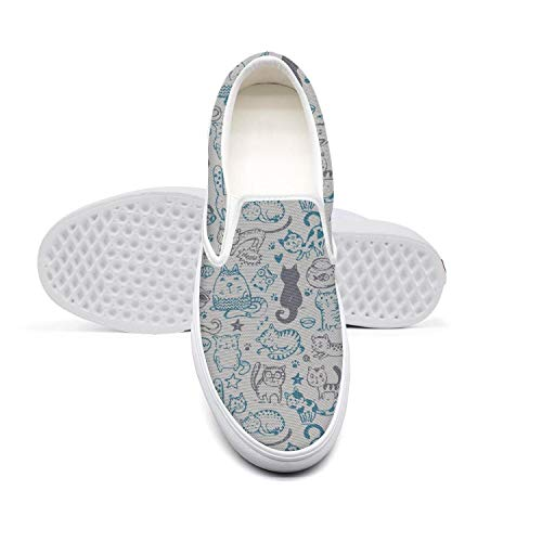 Women Girls Lazy Canvas Slip-On Shoes Cat and Mice Meow Fish Star Paw Classic DailySneakers