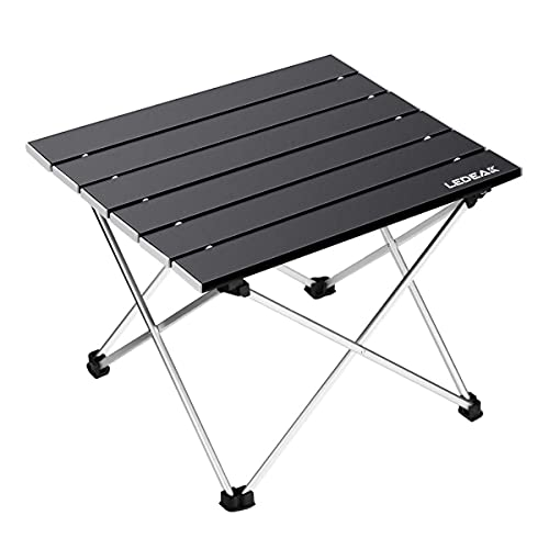 Ledeak Portable Camping Table, Small Ultralight Folding Table with Aluminum Table Top and Carry Bag, Easy to Carry, Perfect for Outdoor, Picnic, BBQ, Cooking, Festival, Beach, Home Use