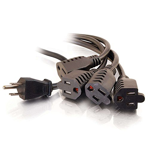 C2G/ Cables To Go 4 Outlet Power Cord Splitter - 16 AWG Power Squid Extends 6ft From The Wall - 1 In 4 Out Plug Is Ideal For Home Use, Travel, DJ Setups, & Holiday Lights - 29808, Black