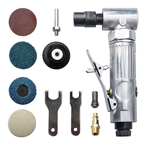 angle air die grinder 1/4' with 4 pcs 2' roll lock sanding discs, polished color angle pneumatic die grinder