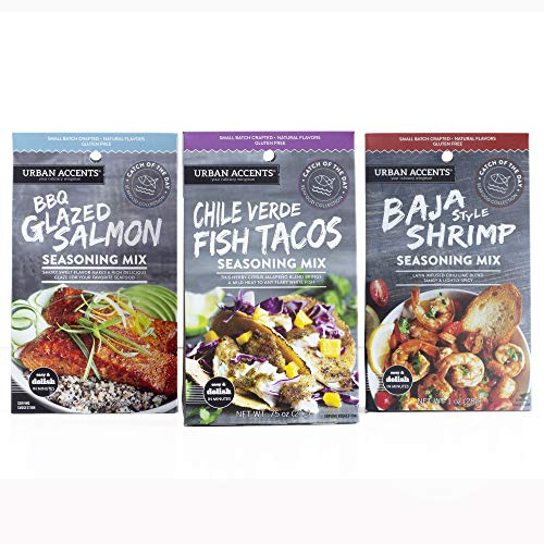 Urban Accents Gluten Free Main Dish Seafood Seasoning Bundle - Seafood Spice & Seasoning Packs (Set of 3) – Baja Shrimp, BBQ Glazed Salmon & Chile Verde Fish Taco Seasoning for Cooking