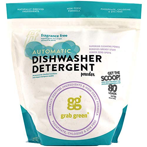 Grab Green Natural Automatic Dishwashing Detergent Powder, Fragrance Free, Organic Enzymed-Powdered, 80 Loads