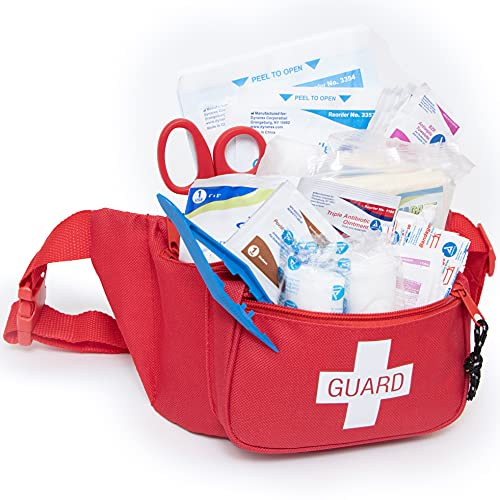 Primacare KB-8005 First Aid Fanny Pack Stocked with 75 Pieces Emergency Medical Supplies, Lifeguard Waist Travel Bag with 3 Pockets, Red, 8x2x6 inches