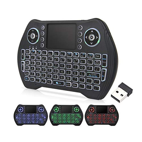 Backlit Mini Wireless Keyboard with Touchpad Mouse Combo, Rechargable Li-ion Battery & Multi-Media Handheld Remote for Google Android TV Box,PC,PAD