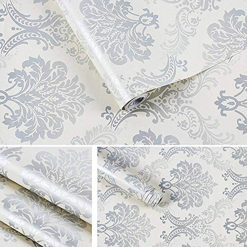 LIFAVOVY Damask Removable Wallpaper Peel and Stick Wall Paper Decorative Self Adhesive Shelf Drawer Liner Roll 17.7 Inch x 32.8 FT