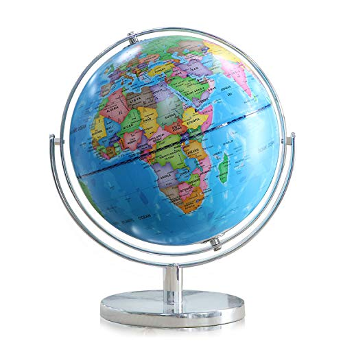 World Globe for Kids - Small Size 8 Inch - Full Rotation World Globe with Stand Geographic Adult Discovery World Learning Toys Globe for Kids