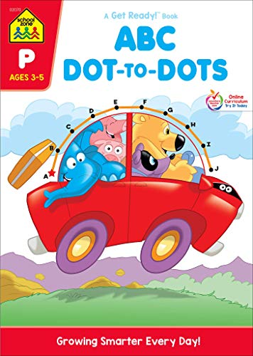 School Zone - ABC Dot-to-Dots Workbook - Ages 3 to 5, Preschool to Kindergarten, Connect the Dots, Alphabet, Alphabetical Order, Letter Puzzles, and More (School Zone Get Ready! Activity Book Series)