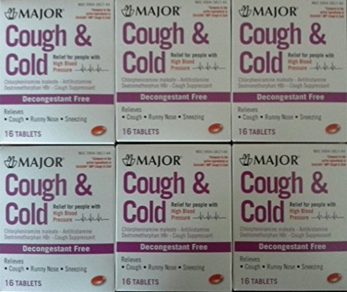 Major Cough & Cold HBP Antihistamine Suppressant Tablets for People with High Blood Pressure, 16-Count Boxes (6 Pack)