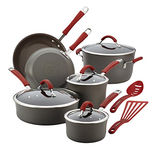 Rachael Ray Cucina Hard Anodized Nonstick Cookware Pots and Pans Set, 12 Piece, Gray with Red Handles
