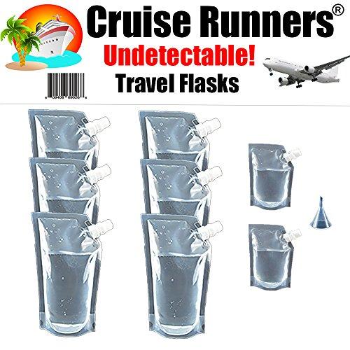 CRUISE RUNNERS Brand Ship Kit Flask Sneak Alcohol Runner Rum Liquor Smuggle Booze Gift (6x32 oz. + 2x8oz.)
