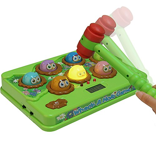 Catchstar Whack-a-mole Game Fast Reflexes Whack A Mole Game Counting Score Wack-a-mole Language Learning Musical Wack A Mole With Soft Hammer Educational Toy For Kids Toddlers Children Boys