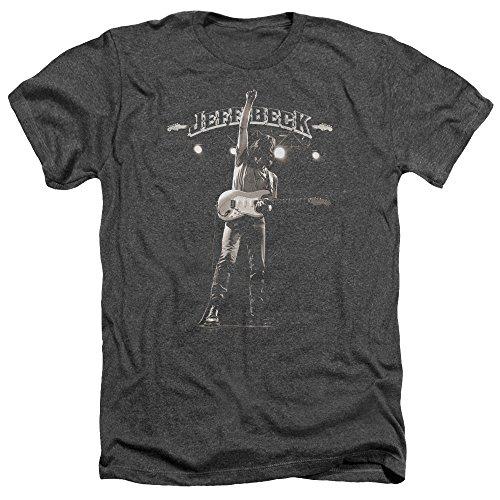 Jeff Beck Rock Music Guitar Legend Guitar God and Logo Adult Heather T-Shirt Tee Gray
