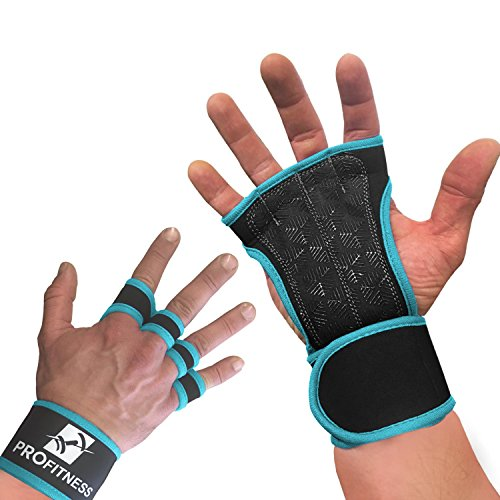 ProFitness Neoprene Workout Gloves with Silicone Non-Slip Grip – WODs, Weightlifting, Cross Training – Wrist Strap Support – Unisex for Men and Women (Turquoise, Small)