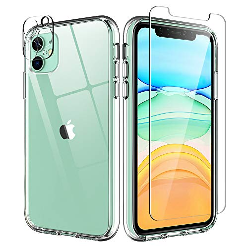Tauri Compatible iPhone 11 Case, Crystal Clear, 2 Pack Tempered Glass Screen Protector and 2 Pack Camera Protector, Yellowing/Scratch-resistant, Shockproof Slim Cases Cover for iPhone 11 6.1 inch