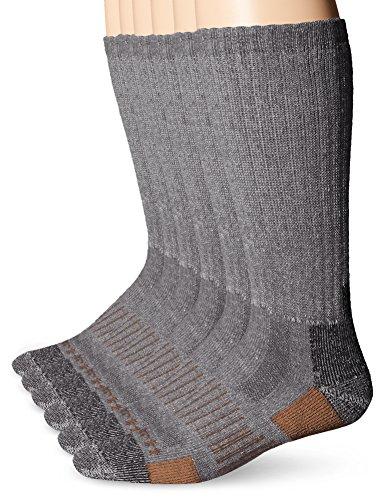 Carhartt Men's 6 Pack All-Terrain Boot Socks, Grey, Shoe Size: 6-12