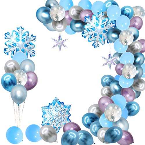 Finypa Snowflake Balloon Garland Arch kit 90 Pack Snowflake Balloons for Winter Wonderland, Holiday, Christmas, Baby Shower, Snow Princess Birthday Party Decorations Garland Balloon with Purple White Blue