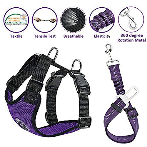 Lukovee Dog Safety Vest Harness with Seatbelt, Dog Car Harness Seat Belt Adjustable Pet Harnesses Double Breathable Mesh Fabric with Car Vehicle Connector Strap for Dog (Small, Purple Seatbelt)