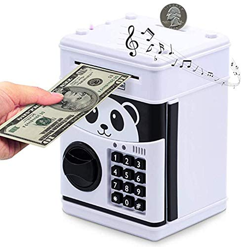 Music panda Children's Cartoon Electronic Password Piggy Bank Mini ATM Bank Security Lock Smart Voice Prompt Automatic Roll Banknotes and Coins Best Children's Gifts Fun Toys Birthday Gifts (panda)