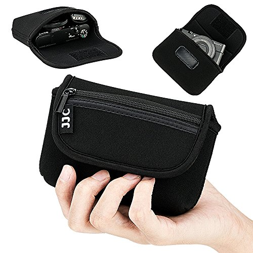 Compact Camera Case Pouch for Sony RX100 VII VA VI V IV III II Canon G7X III II G9X II SX740 SX730 SX720 Ricoh GRIII GR3 GRII Olympus TG-6 TG-5 TG-4 TG-3, w/Zippered Pocket & Battery Pocket - Black