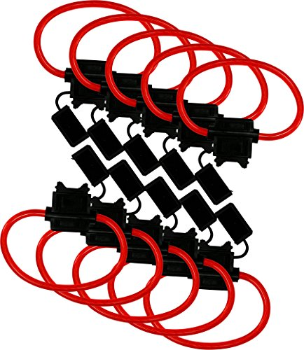 10 Pack - EPAuto 12V-DC ATC/ATO 12 AWG In-Line Fuse Holder for 30A fuses