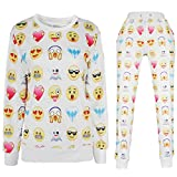 Dolpind 3D Emoji Printed Activewear Sweatpants Shirt Joggers US Size L/Tag XL White Suits