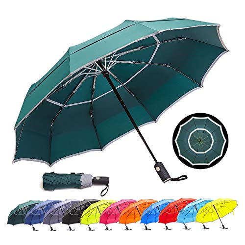HOSA Auto Open Close Compact Portable Lightweight Travel   Night Safety Reflective Strip   Windproof Waterproof UV Protection Umbrella   for Raining Sunny Days Night Time Use (Dark Green 42-inch)