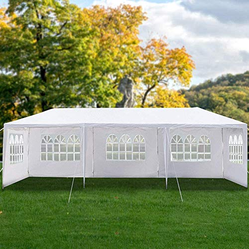 Heavy Duty Canopy Event Tent-10'x30' Outdoor White Gazebo Party Wedding Tent, Sturdy Steel Frame Shelter w/5 Removable Sidewalls Waterproof Sun Snow R