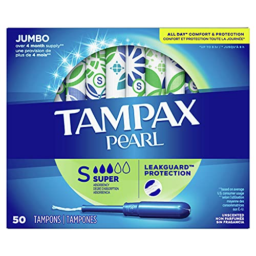 Tampax Pearl Tampons Super Absorbency with BPA-Free Plastic Applicator and LeakGuard Braid, Unscented, 50 Count