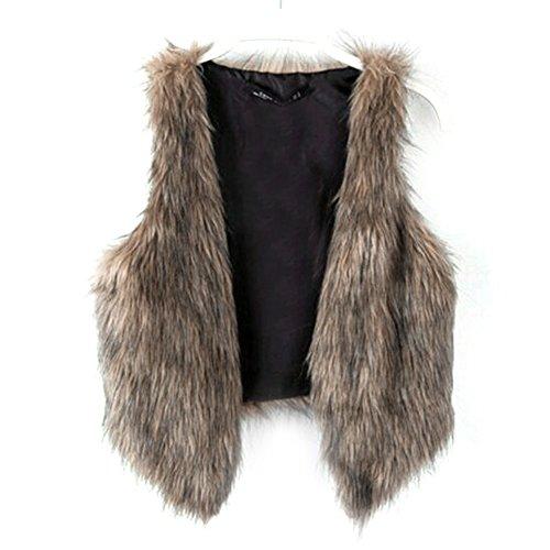 Dikoaina Fashion Women Faux Fur Waistcoat Short Vest Jacket Coat Sleeveless Outwear (L)