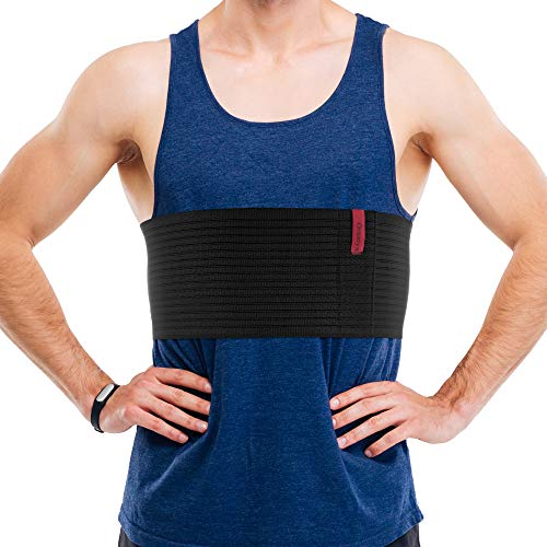 ORTONYX 6.25' Broken Rib Brace for Men and Women - Elastic Chest Wrap Comppression Support Belt - Rehabilitation of Cracked, Fractured, Dislocated Ribs Post-Surgery Aid L/XXL Black / ACOX5256-BK-LXXL