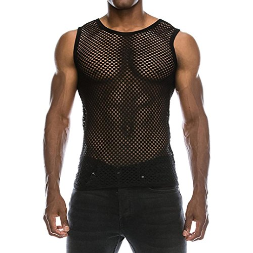 Respctful Mens Casual Muscle Mesh Hollow Out Fashion T-Shirt O-Neck Sleeveless Top Blouse (Black, M)