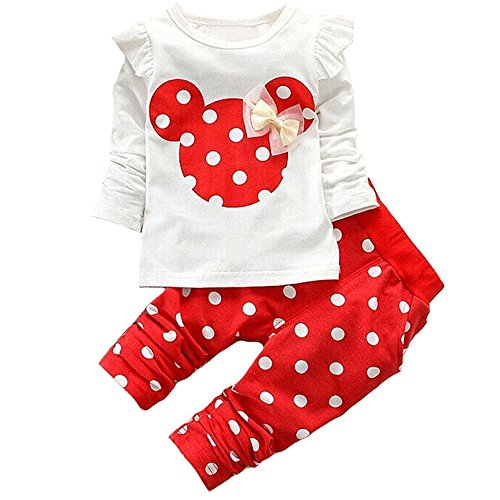 Baby Girl Clothes Infant Outfits Set 2 Pieces Long Sleeved Tops + Pants (9-12 Months, Red)