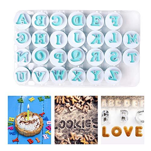 Neeyoo Alphabet Cookie Cutters, Cookie Mold, Cookie stamp, Upper Alphabet Shape DIY Biscuit Cake Molds