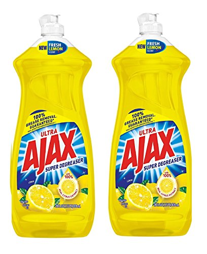 Ajax Dishwashing Liquid, Super Degreaser, Lemon, 28 Ounce, 2 Pack