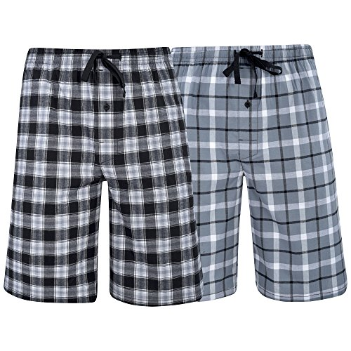 Hanes Men's Big Men's Woven Stretch Pajama Shorts 2 Pack Grey Black Medium