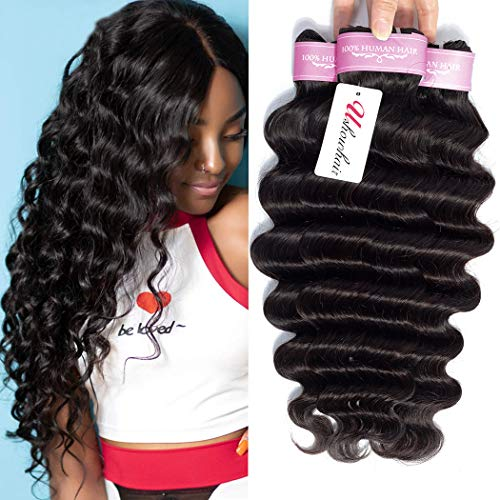 Brazilian Virgin Hair Loose Deep Wave Bundles 10A Grade Unprocessed Brazilian Human Hair Bundles 12 14 16inch Brazilian Deep Curly Hair Weave 3 Bundles Remy Hair Extensions Natural Black