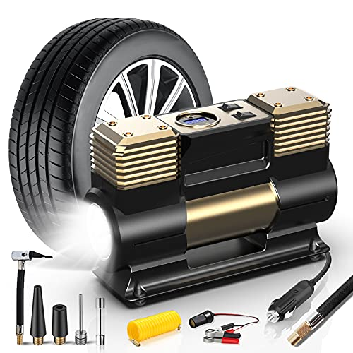 WOLFBOX Portable Air Compressor for Car Tires, Air Compressor Tire Inflator with LED Light, 12V DC Digital Tire Pump with Auto Shut-Off, Air Pump with Fast Inflation for Car,Bicycle,Other Inflatables