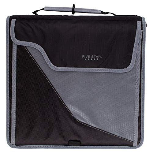 Five Star Sewn Zipper Binder, 3 Inch 3 Ring Binder, Expandable Plus Removable Padded Device Case, Black/Gray (29296IT8)