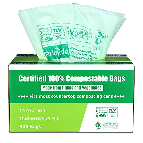 Primode 100% Compostable Bags, 3 Gallon Food Scraps Yard Waste Bags, 300 Count, Extra Thick 0.71 Mil. ASTMD6400 Compost Bags Small Kitchen Trash Bags, Certified By BPI And TUV