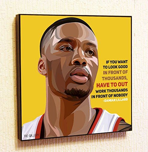 Damian Lillard NBA Backetball Motivational Quotes Wall Decals Pop Art Gifts Portrait Framed Famous Paintings on Acrylic Canvas Poster Prints Artwork (10x10 (25.4cm x 25.4cm))