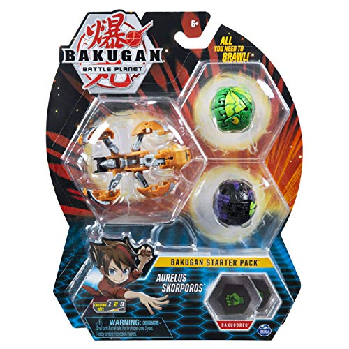 Bakugan Starter Pack 3-Pack, Aurelus Skorporos, Collectible Action Figures, for Ages 6 and up