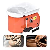 SKYTOU Pottery Wheel Pottery Forming Machine 25CM 350W Electric Pottery Wheel with Foot Pedal DIY Clay Tool Ceramic Machine Work Clay Art Craft (Orange)