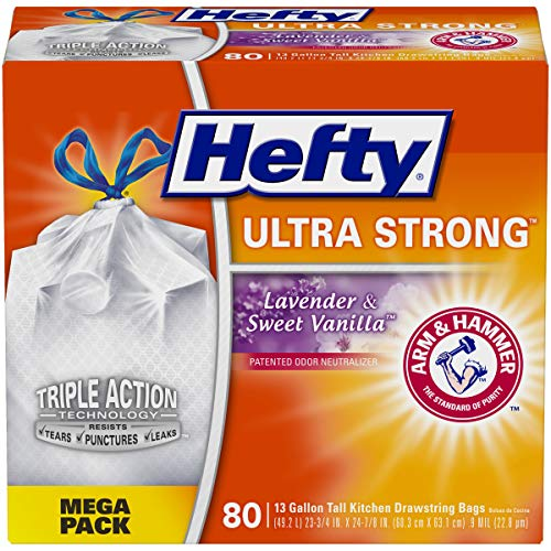 Hefty Ultra Strong Tall Kitchen Trash Bags, Lavender and Sweet Vanilla Scent, 13 Gallon, 80 Count