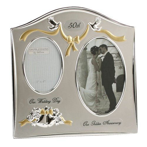 Juliana Two Tone Silver Plated Wedding Anniversary Photo Frame - 50th Golden