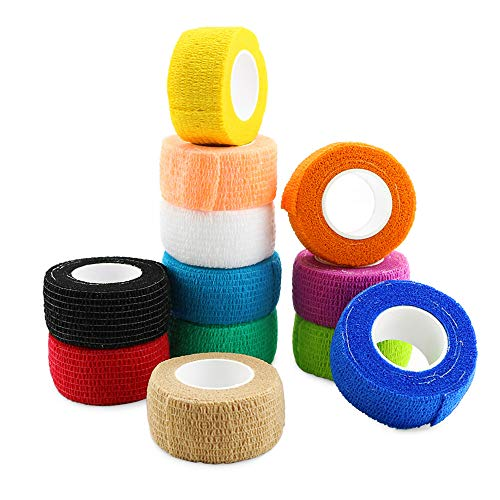 Nexxxi 12 Pack Self Adhesive Elastic Bandage - Medical Tape Cohesive Bandage Tape Gauze Roll for Sports, Wrist, Ankle,ect(1 inches Wide and 5 Yards Long)