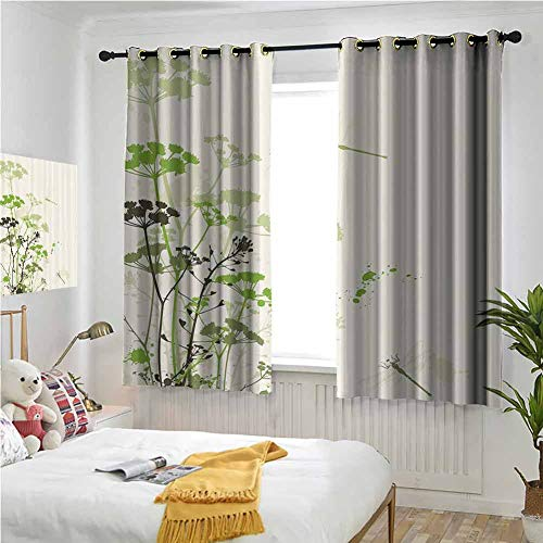 Green Beige Curtains 72 Inch Lenght, Country Decor Collection Patio Door Curtains 63x72 Inch Minimalist Foliage and Herbs Illustration with Dragonflies Winged Insects Mystic Animal Rod Pocket Drapes