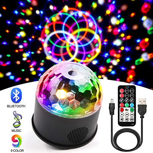 KOOT Disco Lights Bluetooth Speaker Sound Activated Party Light with Remote Control LED DJ Strobe Bar Club Stage Dance Light for Kid Room Party Wedding Birthday