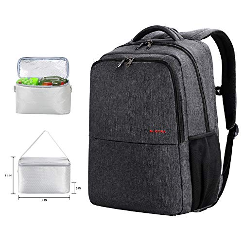 SLOTRA 17 inch Laptop Backpack with Lunch Box USB Port Travel Computer Backpack Large Capacity Busniess Commute Bag
