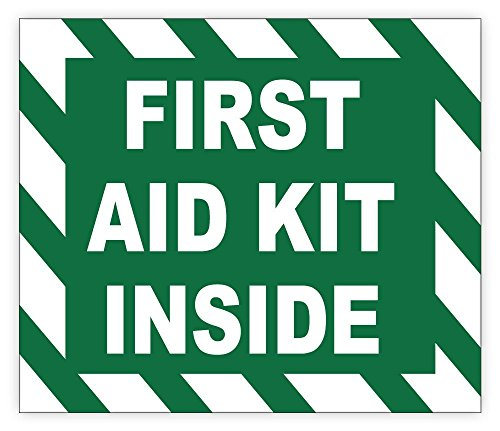 First AID KIT Inside Sign Sticker Decal 5' x 4', 5 Pack