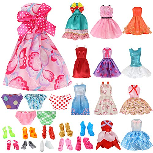 OUFOTAT 27 Pcs Doll Clothes Outfit Set with 12 Fashion Party Dresses Gown 10 Pair Shoes and 5 Handmade Underwear for 11.5 Inch Barbi Girl Doll Accessories